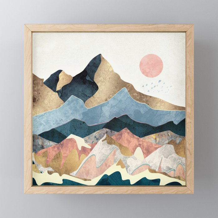 Golden Peaks Framed Mini Art Print