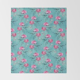 Waterlily dragonfly Throw Blanket