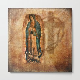 Antique Vintage Our Lady of Guadalupe Metal Print