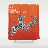 royal tenenbaums Shower Curtains featuring Margot's Wallpaper / The Royal Tenenbaums / Wes Anderson by David Ramsay, Jr.