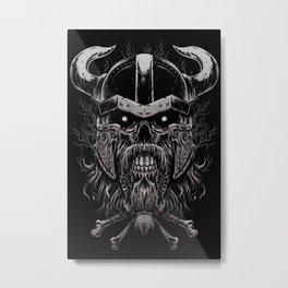 Viking Skull | Warrior Odin Illustration Metal Print