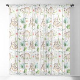 Modern hand painted green brown watercolor tropical floral sloth Sheer Curtain