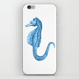 Seahorse nautical blue watercolor iPhone Skin