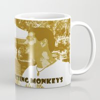 peanuts Mugs featuring Peanuts connecting monkeys by Adiel Azrai