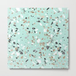 Glitter and Grit Marble Mint Green Metal Print
