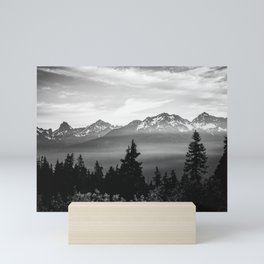 Morning in the Mountains Black and White Mini Art Print