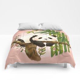 Panda under sunlight - Pink Comforters