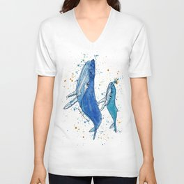 Whale Mommy and Baby Unisex V-Neck