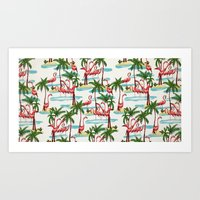 Trump Flamingo Pattern Art Print