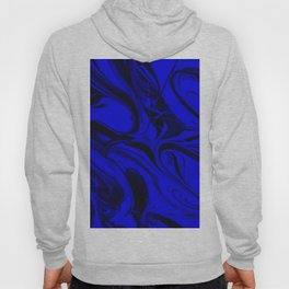 Black and Blue Swirl - Abstract, blue and black mixed paint pattern texture Hoody