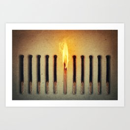match burning alone Art Print