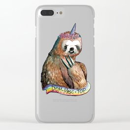sloth unicorn dom masc top rainbow Clear iPhone Case