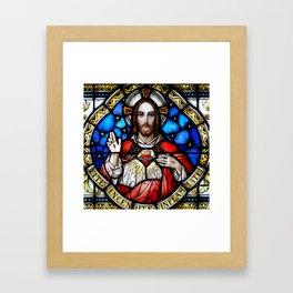 Sacred Heart in Stained Glass Framed Art Print