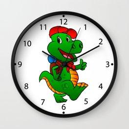 Dino hiker. Wall Clock