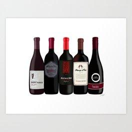 Red Wine Bottles Art Print
