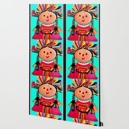 Mexican Maria Doll (turquoise) Wallpaper