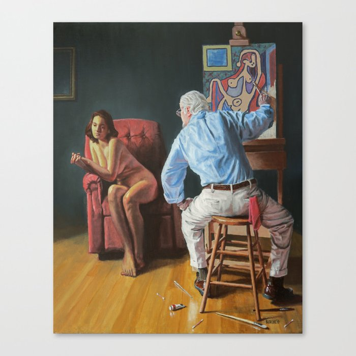 Rockwell Meets Picasso - Nude in a Red Armchair Canvas Print