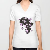 africa V-neck T-shirts featuring Africa by Dreamy Me