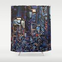 las vegas Shower Curtains featuring Vegas by Taylor deVille