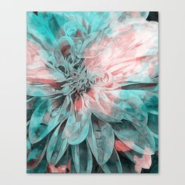 Abstract Floral Teal Canvas Print
