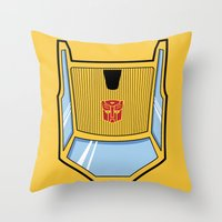 transformers Throw Pillows featuring Transformers - Sunstreaker by CaptainLaserBeam