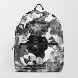 Geometric Fragmented Wild Rose Black - White Backpack