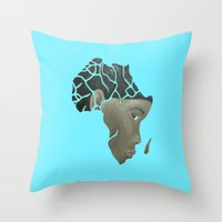 african Throw Pillows featuring African Continent by ArtSchool