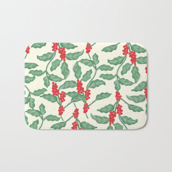 Coffee Plant Pattern Bath Mat