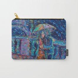 """Lovers in Rainy Paris"" - Palett knife figurative city landscape by Adriana Dziuba Carry-All Pouch"