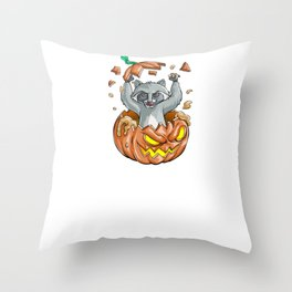 Raccoon Pumpkin, It's Show Time Funny Halloween Horror Scary Throw Pillow