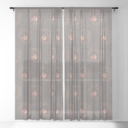 Swirl with the Leaves | Rock grey and Peach Color Palette Sheer Curtain