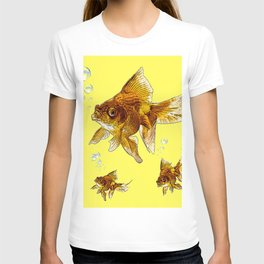 PRIZE WINNING BLACK-GOLDFISH YELLOW ART T-shirt