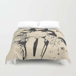 Obey - bondage erotic, black and white drawing, BDSM nude abstract artwork, kinky slave girl naked Duvet Cover