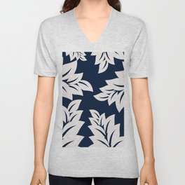 Navy Blue tropical leaves Unisex V-Neck