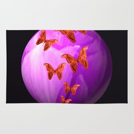 Violet Flower Bud With Apollo Butterflies Illustration On A Black Background #decor #society6 Rug