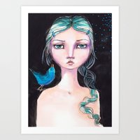 jane davenport Art Prints featuring Blue Bird by Jane Davenport by Jane Davenport