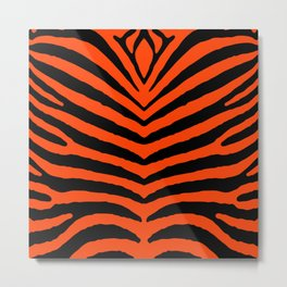 Orange Neon and Black Zebra Stripe Metal Print