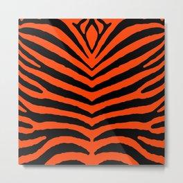 Orange Neon and Black Zebra Stripe Metal Print
