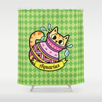 astrology Shower Curtains featuring MorCats Astrology Aquarius by MorningMobi