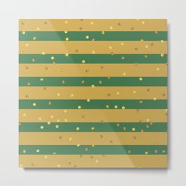 Christmas Golden confetti on Gold and Green Stripes Metal Print