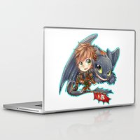 hiccup Laptop & iPad Skins featuring Httyd 2 - Chibi Hiccup and Toothless by ibahibut