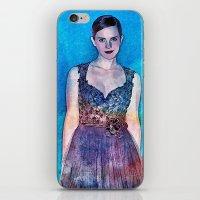 emma watson iPhone & iPod Skins featuring Emma Watson - Blue by André Joseph Martin