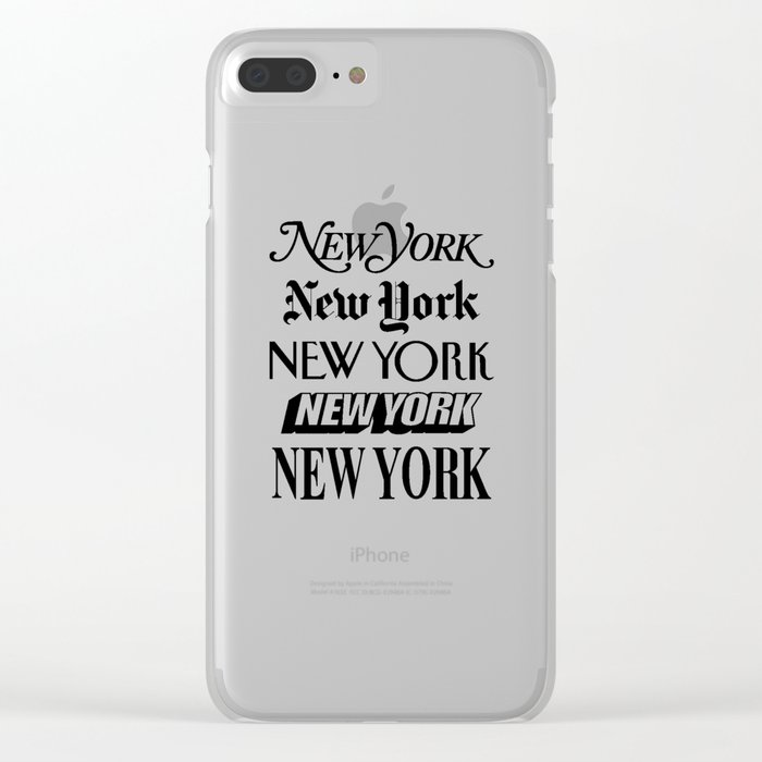 I Heart New York City Black and White New York Poster I Love NYC Design black-white home wall decor Clear iPhone Case