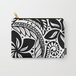 Circular Polynesian Black Floral Tattoo Carry-All Pouch