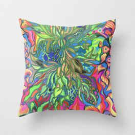 Flower Bomb Throw Pillow