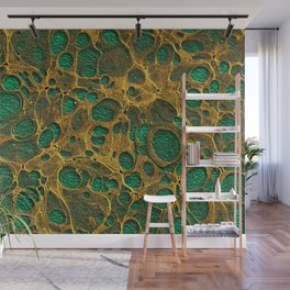 Dark Spring Green Gold Marble Wall Mural