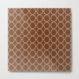Chocolate Brown Quatrefoil Pattern Metal Print