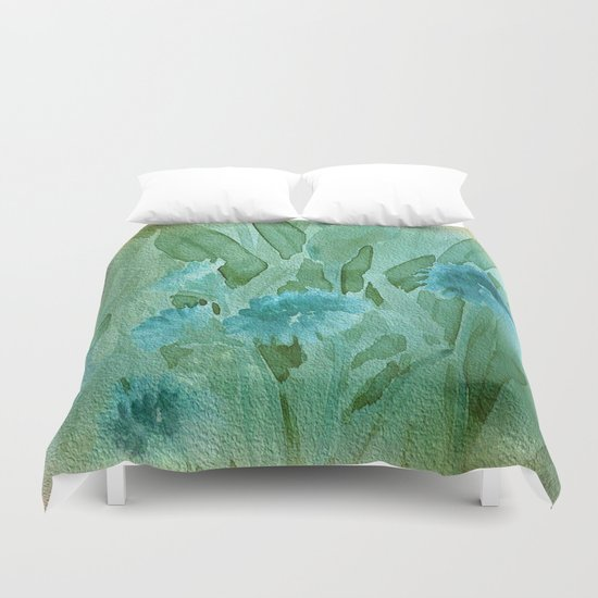 Soft Elegant Watercolor Floral - Blue Duvet Cover