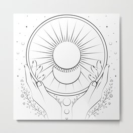 The sun and the moon on our hands Metal Print