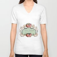 shabby chic V-neck T-shirts featuring Shabby Chic Carte Postale by Nika in Wonderland